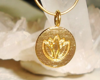 24K Gold Vermeil Over Sterling Silver Lotus Symbol Pendant Charm, Lotus in Water, Yoga Pendant Charm,1 pc, 13x17mm - PC-0187