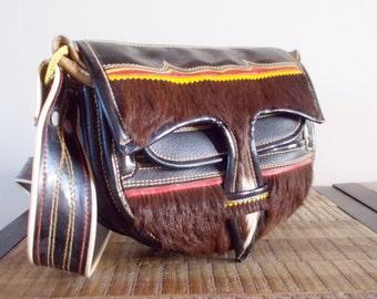 1970s Retro Leather Horse Hair Cowgirl Saddle Handbag