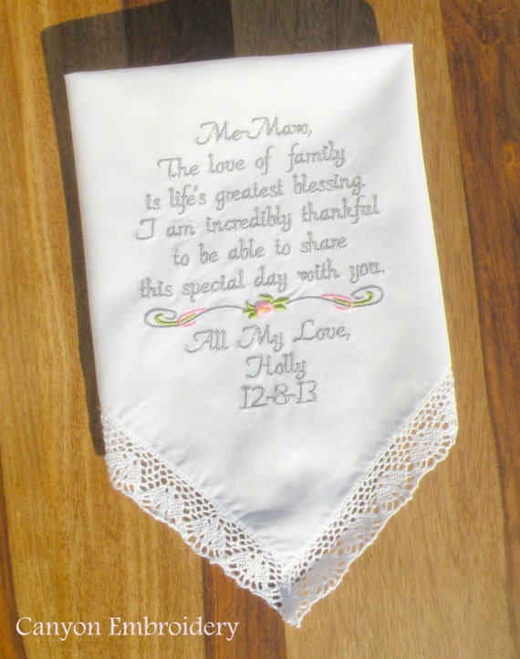 Wedding gift for grandmother grandma me maw embroidered
