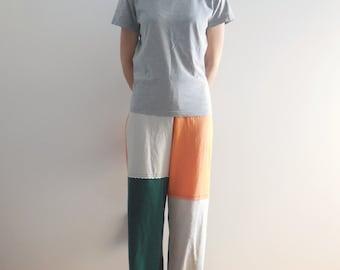 T-Shirt Pants Womens TShirt Tee Pants Cream Brown Orange Hunter Green S - M Upcycled Recycled Fashion Lounge Pants Drawstring Cotton ohzie