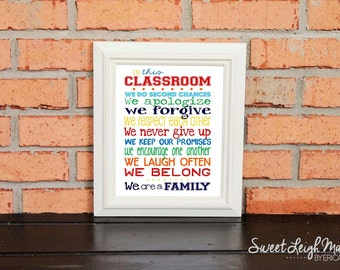 Classroom - Teacher Gift - Classroom Art – Personalized Sign – In This Classroom - Primary Colors - Motivational - Inspirational - Teamwork