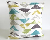 Geometric Pillow Cover, Throw Pillow, Decorative Pillow, 18x18 Cushion Cover, Pillow Sham, 18 Inch, 18x18 Couch Pillow - Pop Triangle Teal