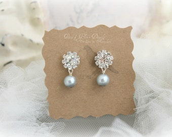 Bridesmaids Jewelry - Bridal Silver Grey Pearl Rhinestone Earrings - Sterling Silver - Crystal Earrings- Jewelry Accessory - Ready to Ship