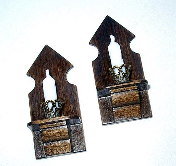 Medieval Candle Sconces Set Of 2 Rustic Dollhouse By