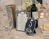 Wedding Table Numbers in Navy Blue and White - Damask Cutout - Choose Your Colors