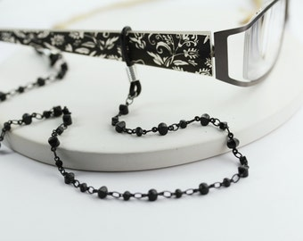 Modern Black Eyeglass Chain, eyeglass chain, glasses chain, eyeglass holder, eye glass chain, eyeglass lanyard, lanyard, eyewear accessory