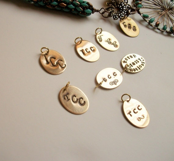 Personalized Metal Jewelry Tag - Rustic Solid Brass (Gold Tone) Oval