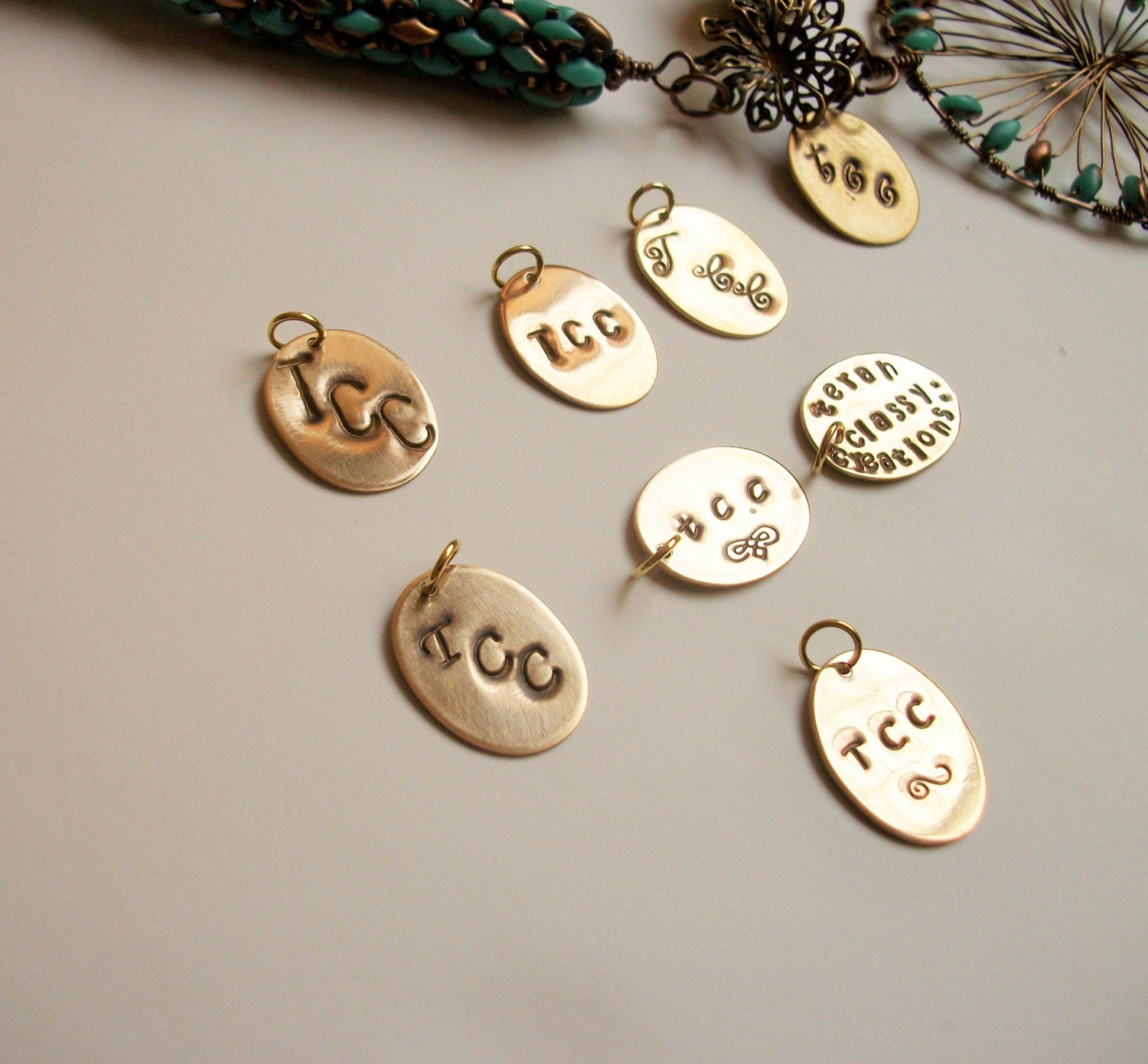 Personalized Metal Jewelry Tag Rustic Solid Brass Gold