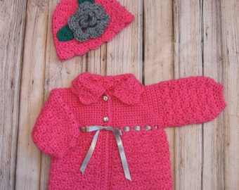 Pink Baby Sweater Set Knit Baby Girl Sweater and Hat PInk Crochet newborn Baby Sweater and Hat Set Sweater and Beanie Pink Baby Girl Jacket