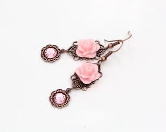Pink Rose Earrings, Copper Filigree, Romantic Jewelry, Western jewelry