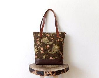 MOTHERS DAY SALE - Canvas Tote Bag - Leather Base - Paisley Floral Design Linen - Brown Leather Handles