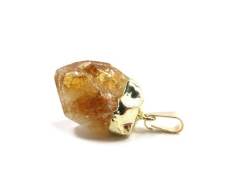 Citrine Raw Crystal Gold Dipped 1 Golden Yellow Natural Rough Stone Focal for Jewelry Making (Lot B09) Rough Rock SALE