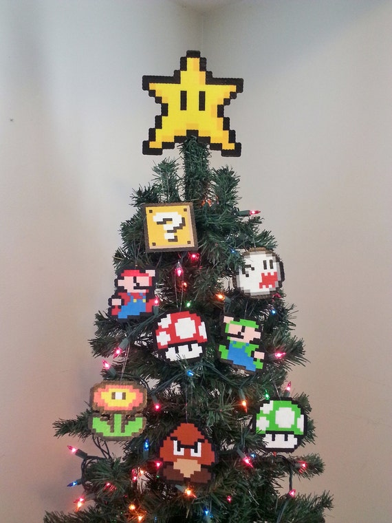 ORIGINAL Mario Bros. Perler Bead Star Christmas Tree Topper and Ornament Set (9 Piece) - new years eve party - december gifts