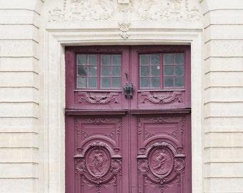 Paris Photography - Orchid Door Travel Photograph, Paris Architectural Fine Art Print, French Home Decor, Large Wall Art