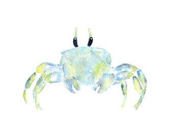 Watercolor painting, beach painting, crab print, beach art, tropical decor, watercolor animals, watercolor crab, crab painting, 7X5 print