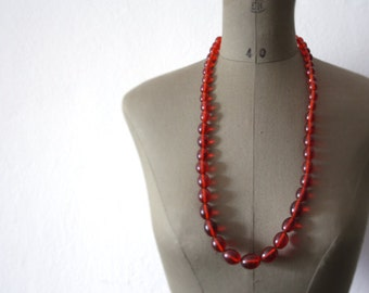 Cherry red NECKLACE // Vintage necklace //