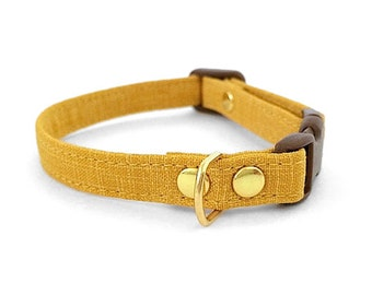 Cat Collar Mustard Crosshatch