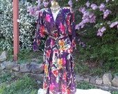 Vintage 80's Purple Floral Dress . 30's Retro Styling . Tropical Flowers .  Autumn Colors . Shoulder Pads . Long Asymmetric Skirt .by PHOEBE