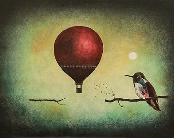 "Art print // Hot air balloon - hummingbird - moon // ""What would happen?"