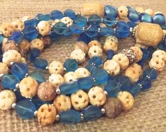 Aqua Blue Necklace  Bone Wood Necklace Earthy Tone Necklace  Long Blue Necklace Lightweight Long Necklace  Gemstone Necklace  Aqua  Necklace