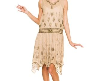 1920s Vintage Beaded Silk Flapper Dress Size: S/M/L
