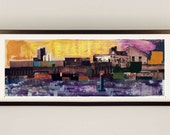 Canal Collage by D McConochie / Collage Wall Art / Purple Yellow Artwork / London Canalside Abstract Landscape / Industrial Art