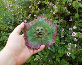Hand Sculpted Grape Leaf Garden Art - Green Man Sculpture by Carrie Jackson