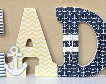 Nautical Nursery Decor, Wooden Wall Letters - Personalized Baby Gift, Custom Name, Boy Nursery Decor, Kids Wall Art-any color and theme