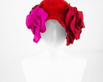 Felted Hat Cloche hat Flapper Hat Roses Hat Designer Hat Black Hat Art Hat Art deco hat Retro hats Nunofelt Nuno felt la belle epoque