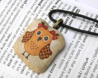 Owl necklace owl pendant owl jewelry child jewelry teen jewel animal jewelry decorated rock decorated pebble stone jewelry unique stone gift