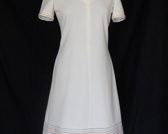 SUMMER SALE!!!  1960s Dress / White Rainbow Striped Scooter Tennis Dress / Leslie Fay