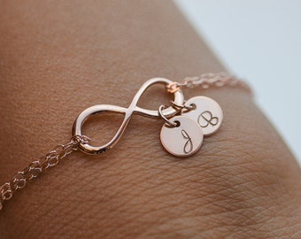 Personalized Infinity Bracelet. Initials Rose Gold Bracelet. two discs jewelry. Mom,Sister,Wife,Bridesmaid Gift.