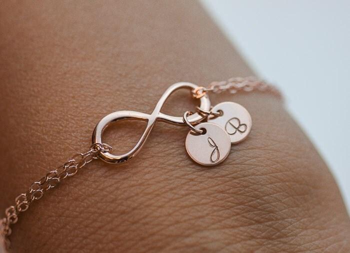 personalized infinity bracelet initials rose gold bracelet. Black Bedroom Furniture Sets. Home Design Ideas