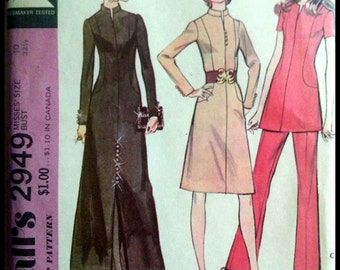 "McCall's 2949  Misses' Dress Or Tunic And Pants  Bust 32.5""  UNCUT"