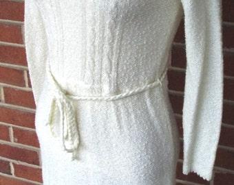 Vintage White Long Sleeve Knit Sweater Dress