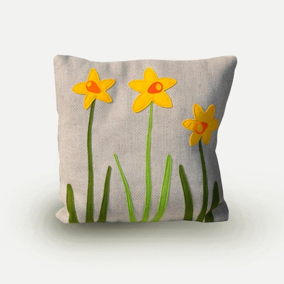 Spring pillow, daffodil, decorative pillow, flowers, living room, pillow yellow flowers, bedroom decor, application, natural beige linen.