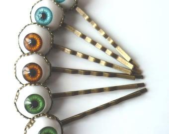 Pair of Hair Pins Clips Eyes Gothic Steampunk