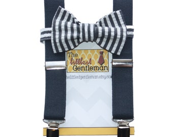 Baby Toddler Boys Charcoal Grey Suspenders and striped Bow Tie, Photo Prop, Wedding Bowtie, Kids Bow Tie, Boys Bow Tie, Suspenders