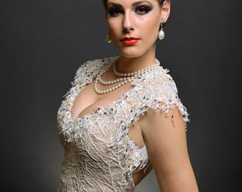 Mobs Wife - Mother of the Bride Dress, Open Back Cream dress, Romantic dress, formal dress, Cocktail dress, Evening gown, Sleeveless dress