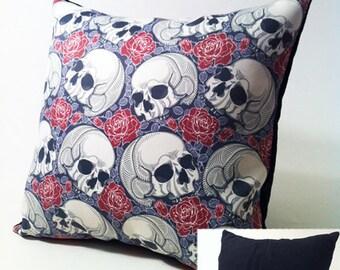 SALE Custom Designed Skull Red Grey Burgandy Crossbones Roses Checkered Swirls Vintage Pillow Covers by Mod Mod Designs