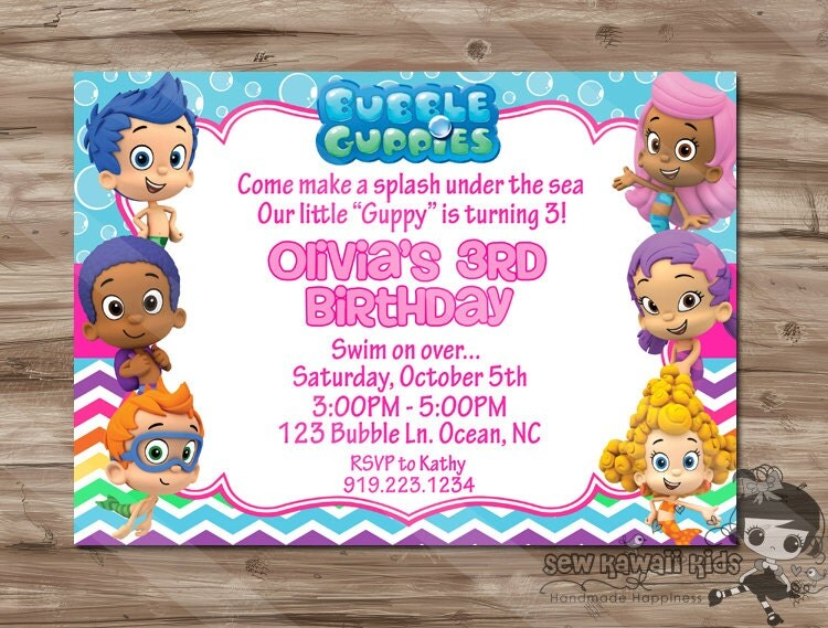 bubble guppies  etsy, Birthday invitations