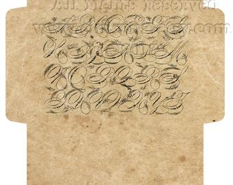 VINTAGE  ALPHABET - Printable Download Digital Collage Sheet Big Envelope - Print and Cut