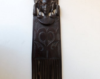 Hand Carved Ebony Wood Art Large African Hair Comb Pick Ebony