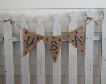 USA Burlap Banner