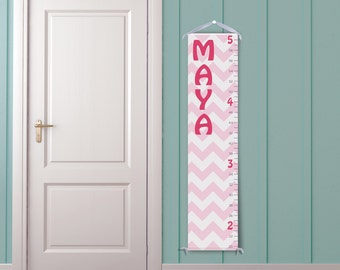 Pink and White Chevron - Personalized Children's Growth Chart
