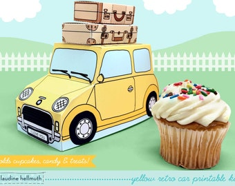 yellow retro car -  cupcake box holds cookies and treats, gift and favor box, party centerpiece printable PDF kit - INSTANT download