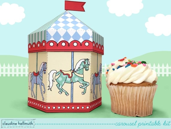 carousel cupcake box also holds cookies and party favors