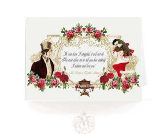 Jane Austen quote card, romantic couple, Pride and Prejudice, Regency card, red rose, Wedding, Engagement card, vintage style, love card