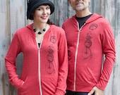 Hedgehog zip up hoodie, men or women, red tri blend, cotton hooded sweatshirt, funny shirts, hedgehog gifts