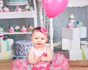 1st Birthday Pink Tutu Dress Outfit, Baby Girls Birthday Tutus